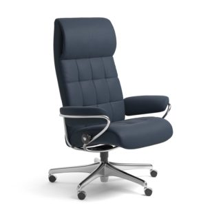 Sessel LONDON High Back Home Office Leder Paloma oxford blue Starbase Stahlgestell mit Rollen Stressless