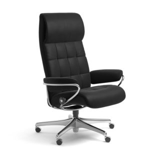 Sessel LONDON High Back Home Office Leder Paloma schwarz Starbase Stahlgestell mit Rollen Stressless