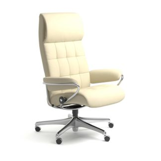 Sessel LONDON High Back Home Office Leder Paloma vanilla Starbase Stahlgestell mit Rollen Stressless