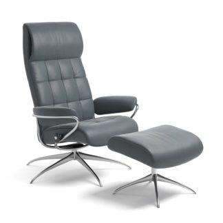 Sessel LONDON High Back mit Hocker Leder Batick atlantic blue Starbase Gestell chrom Stressless
