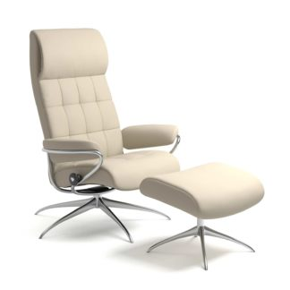 Sessel LONDON High Back mit Hocker Leder Batick cream Starbase Gestell chrom Stressless