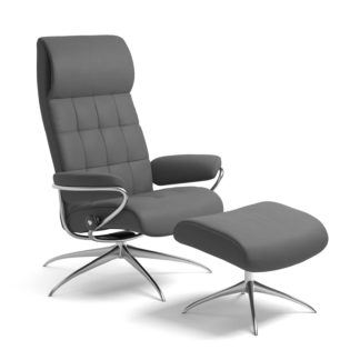 Sessel LONDON High Back mit Hocker Leder Batick grau Starbase Gestell chrom Stressless