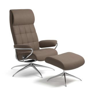 Sessel LONDON High Back mit Hocker Leder Batick mole Starbase Gestell chrom Stressless