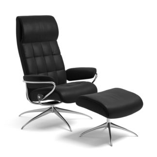 Sessel LONDON High Back mit Hocker Leder Batick schwarz Starbase Gestell chrom Stressless