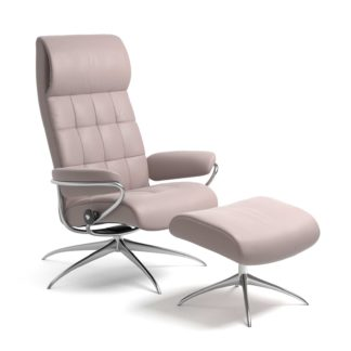 Sessel LONDON High Back mit Hocker Leder Batick smoke rose Starbase Gestell chrom Stressless