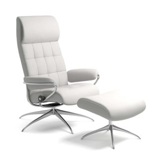 Sessel LONDON High Back mit Hocker Leder Batick snow Starbase Gestell chrom Stressless