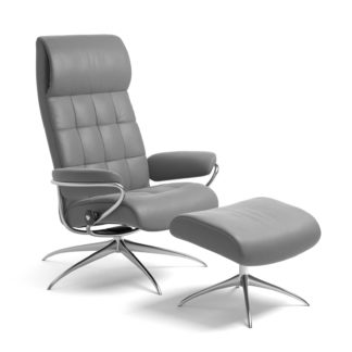 Sessel LONDON High Back mit Hocker Leder Batick wild dove Starbase Gestell chrom Stressless