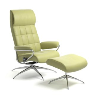 Sessel LONDON High Back mit Hocker Leder Paloma amber green Starbase Gestell chrom Stressless