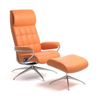 Sessel LONDON High Back mit Hocker Leder Paloma apricot orange Starbase Gestell chrom Stressless