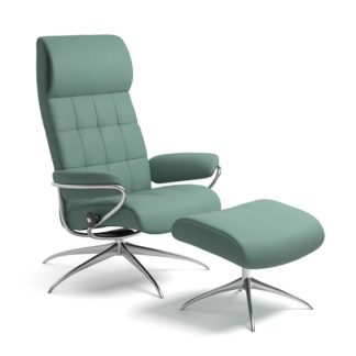 Sessel LONDON High Back mit Hocker Leder Paloma aqua green Starbase Gestell chrom Stressless