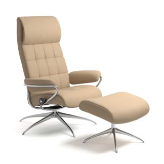 Sessel LONDON High Back mit Hocker Leder Paloma beige Starbase Gestell chrom Stressless