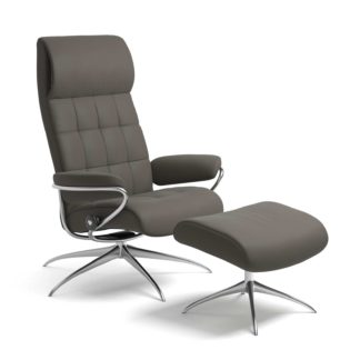 Sessel LONDON High Back mit Hocker Leder Paloma metal grey Starbase Gestell chrom Stressless