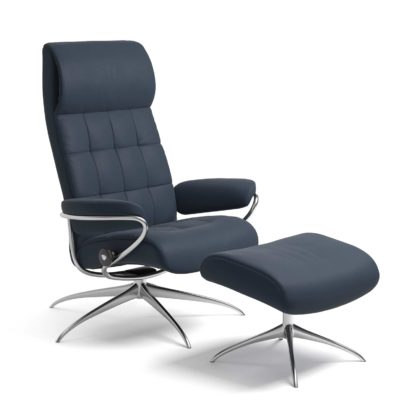 Sessel LONDON High Back mit Hocker Leder Paloma oxford blue Starbase Gestell chrom Stressless