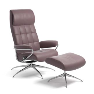 Sessel LONDON High Back mit Hocker Leder Paloma purple plum Starbase Gestell chrom Stressless
