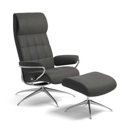 Sessel LONDON High Back mit Hocker Leder Paloma rock Starbase Gestell chrom Stressless