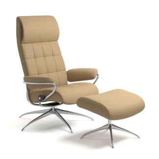 Sessel LONDON High Back mit Hocker Leder Paloma sand Starbase Gestell chrom Stressless