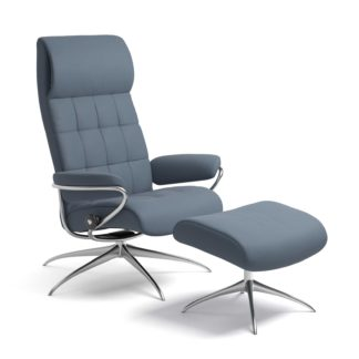 Sessel LONDON High Back mit Hocker Leder Paloma sparrow blue Starbase Gestell chrom Stressless