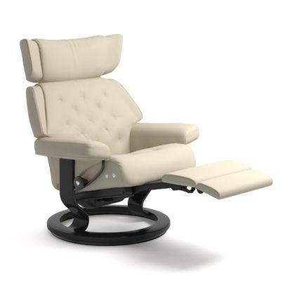 Sessel SKYLINE Classic Legcomfort Leder Batick cream Gestell schwarz Stressless