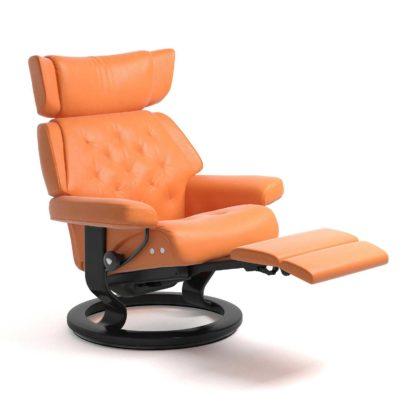 Sessel SKYLINE Classic Legcomfort Leder Paloma apricot orange Gestell schwarz Stressless