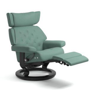 Sessel SKYLINE Classic Legcomfort Leder Paloma aqua green Gestell schwarz Stressless