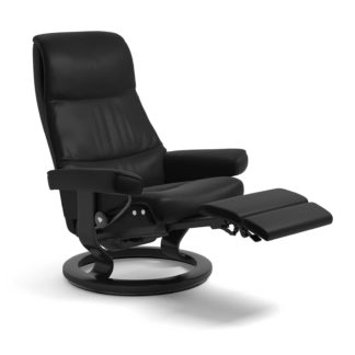 Sessel VIEW Classic Legcomfort Leder Batick schwarz Gestell schwarz Stressless