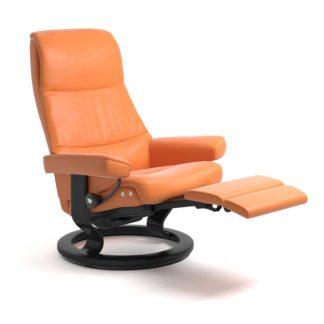 Sessel VIEW Classic Legcomfort Leder Paloma apricot orange Gestell schwarz Stressless
