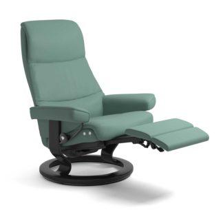 Sessel VIEW Classic Legcomfort Leder Paloma aqua green Gestell schwarz Stressless