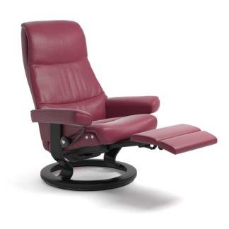 Sessel VIEW Classic Legcomfort Leder Paloma beet red Gestell schwarz Stressless