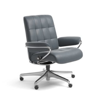 Sessel LONDON Low Back Home Office Leder Batick atlantic blue Starbase Stahlgestell mit Rollen Stressless