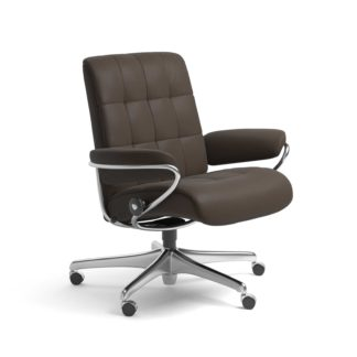 Sessel LONDON Low Back Home Office Leder Batick braun Starbase Stahlgestell mit Rollen Stressless