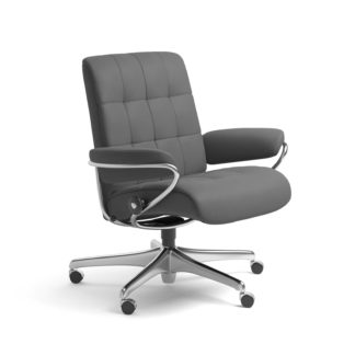 Sessel LONDON Low Back Home Office Leder Batick grau Starbase Stahlgestell mit Rollen Stressless