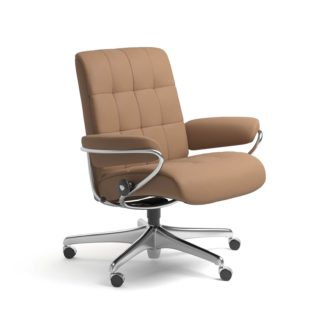 Sessel LONDON Low Back Home Office Leder Batick latte Starbase Stahlgestell mit Rollen Stressless