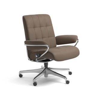 Sessel LONDON Low Back Home Office Leder Batick mole Starbase Stahlgestell mit Rollen Stressless