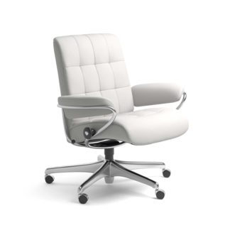 Sessel LONDON Low Back Home Office Leder Batick snow Starbase Stahlgestell mit Rollen Stressless