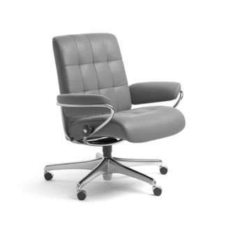 Sessel LONDON Low Back Home Office Leder Batick wild dove Starbase Stahlgestell mit Rollen Stressless