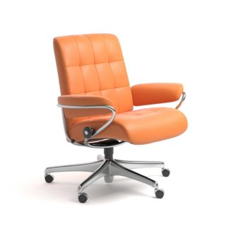 Sessel LONDON Low Back Home Office Leder Paloma apricot orange Starbase Stahlgestell mit Rollen Stressless