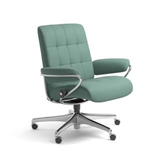 Sessel LONDON Low Back Home Office Leder Paloma aqua green Starbase Stahlgestell mit Rollen Stressless