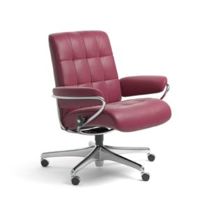 Sessel LONDON Low Back Home Office Leder Paloma beet red Starbase Stahlgestell mit Rollen Stressless