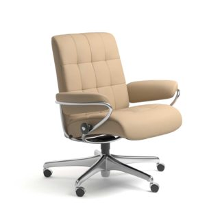 Sessel LONDON Low Back Home Office Leder Paloma beige Starbase Stahlgestell mit Rollen Stressless