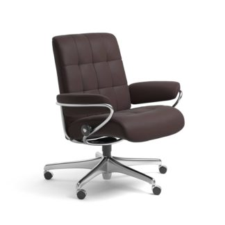 Sessel LONDON Low Back Home Office Leder Paloma chocolate Starbase Stahlgestell mit Rollen Stressless