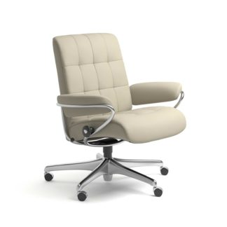Sessel LONDON Low Back Home Office Leder Paloma light grey Starbase Stahlgestell mit Rollen Stressless