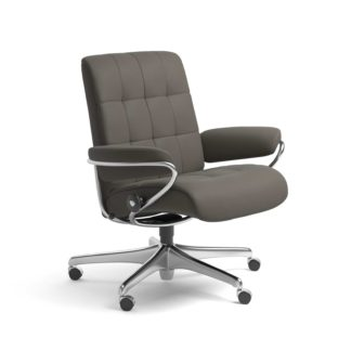 Sessel LONDON Low Back Home Office Leder Paloma metal grey Starbase Stahlgestell mit Rollen Stressless