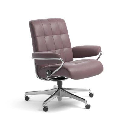 Sessel LONDON Low Back Home Office Leder Paloma purple plum Starbase Stahlgestell mit Rollen Stressless