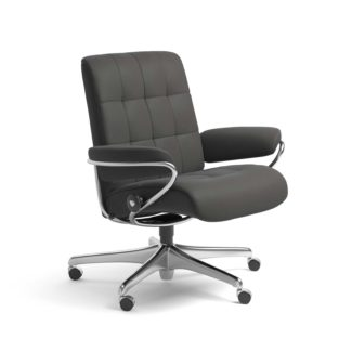 Sessel LONDON Low Back Home Office Leder Paloma rock Starbase Stahlgestell mit Rollen Stressless