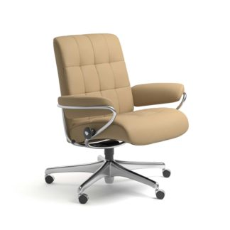 Sessel LONDON Low Back Home Office Leder Paloma sand Starbase Stahlgestell mit Rollen Stressless