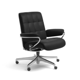 Sessel LONDON Low Back Home Office Leder Paloma schwarz Starbase Stahlgestell mit Rollen Stressless