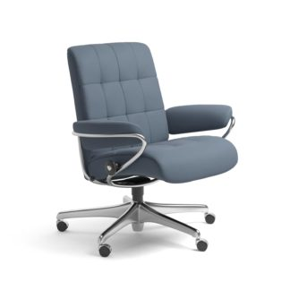 Sessel LONDON Low Back Home Office Leder Paloma sparrow blue Starbase Stahlgestell mit Rollen Stressless