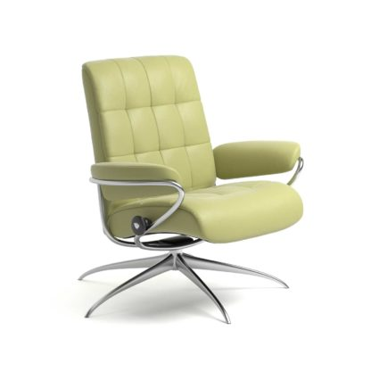 Sessel LONDON Low Back Leder Paloma amber green Starbase Gestell chrom Stressless
