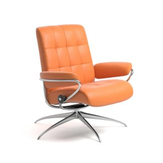 Sessel LONDON Low Back Leder Paloma apricot orange Starbase Gestell chrom Stressless