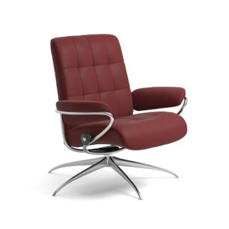Sessel LONDON Low Back Leder Paloma cherry Starbase Gestell chrom Stressless